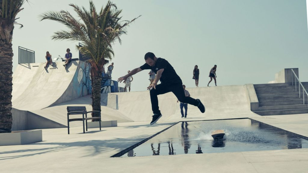 Pro skateboarder Ross tests out the Lexus Hoverboard. (Image via Lexus International)