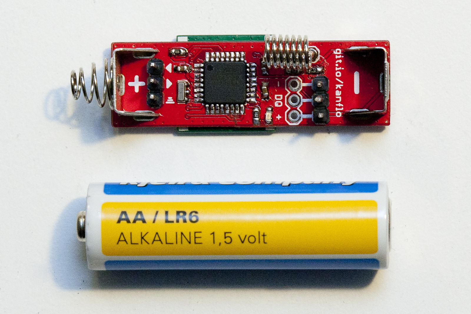 The AAduino is the size of a AA  battery. (Image Credit: Johan Kanflo)