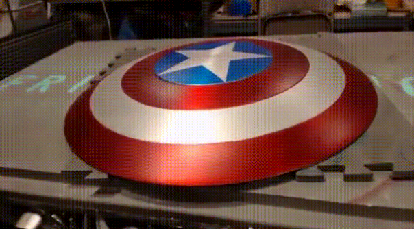Hacker made a functional Captain America electrimagnet shield. (Image via The Hacksmith)
