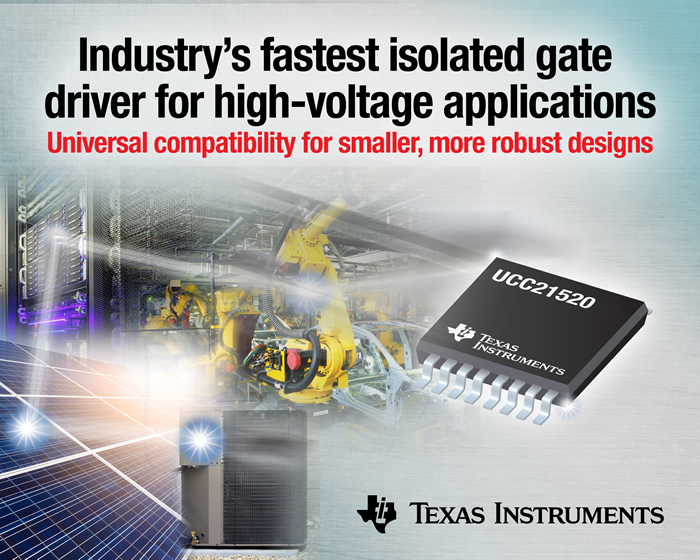 Industry's fastest 5.7kVRMS isolated dual-channel gate driver