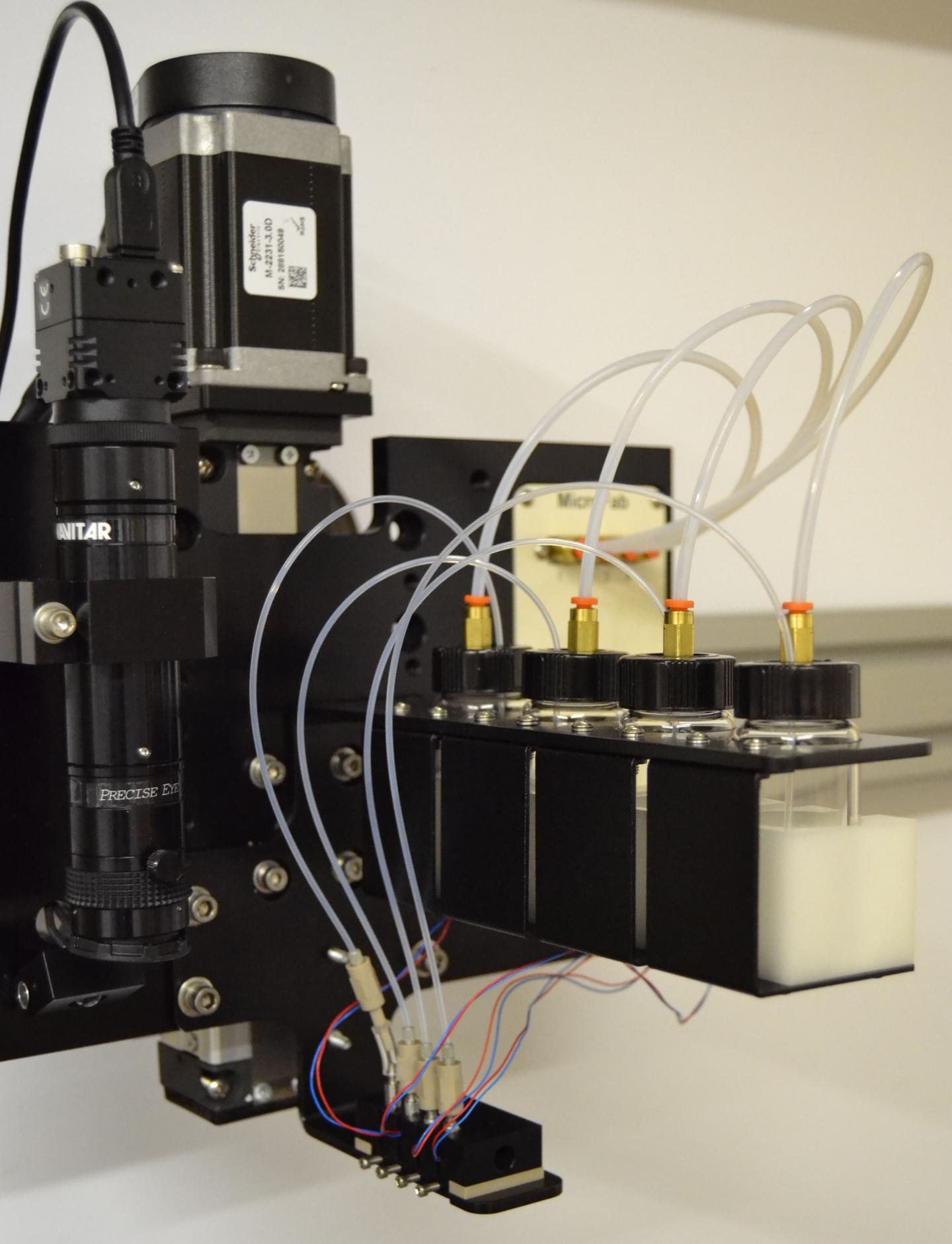 This photograph shows inkjet bioprinting for heterocellular tissue models. (Image Credit: Ozbolat Lab at Penn State)