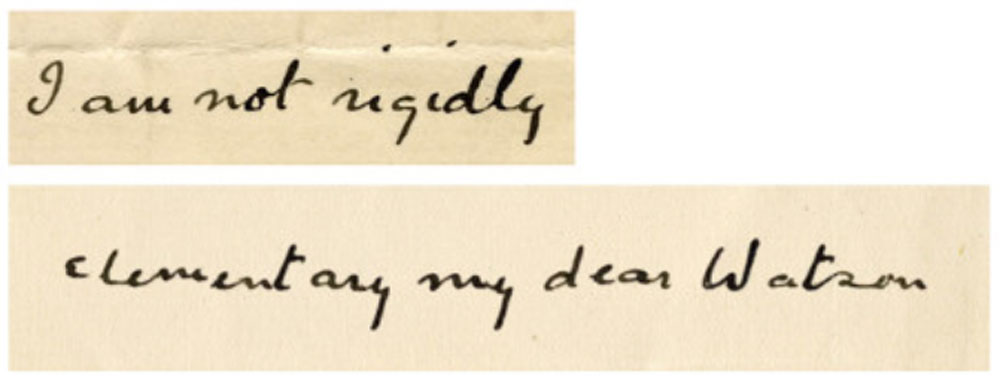 "A real handwriting sample from Arthur Conan Doyle with the synthesized results of the algorithm underneath. Despite its current popularity, he never wrote the Sherlock catchphrase ""elementary my dear Watson""."