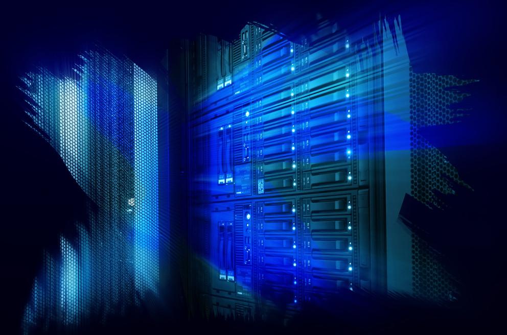 Futuristic design art design of mainframe in the data center. (Image via Penn State)
