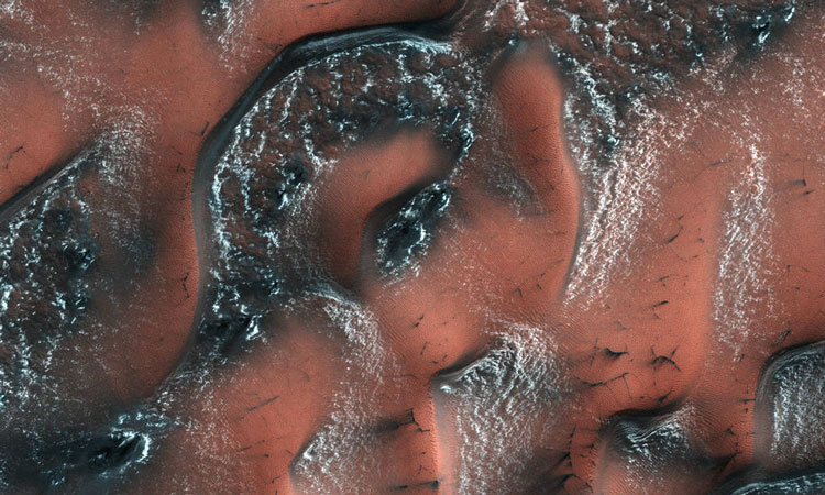 Snowy Dunes On Mars Made From Dry Ice